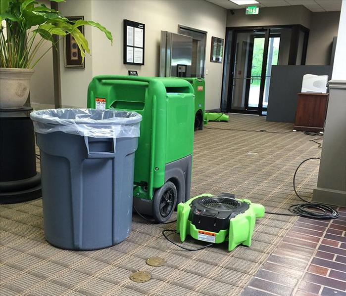 LGR, air mover, and gray trash container by the vault, brown carpet